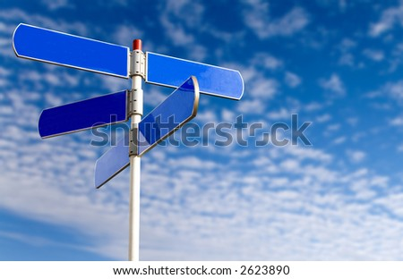 emtpy street sign in metal over a nice blue sky - stock photo