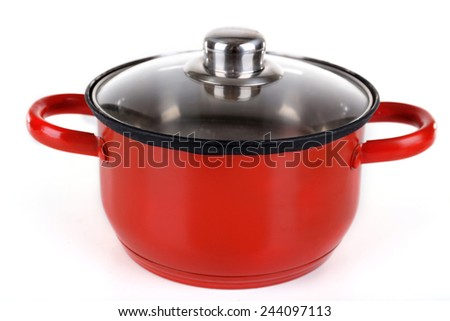 Enamel saucepan isolated on white background - stock photo