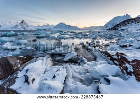 Enchanted Arctic ice landscape - Spitsbergen - stock photo