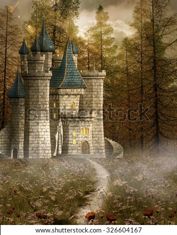 Enchanted castle in the evening light - stock photo