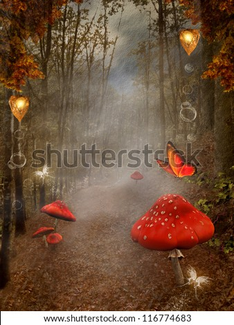 Enchanted nature series - Autumnal forest with fog and red mushrooms - digital painted style - stock photo