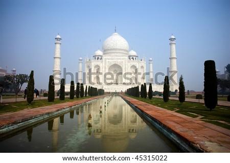Enchanting beauty of Taj Mahal, wonder of the world in India - stock photo