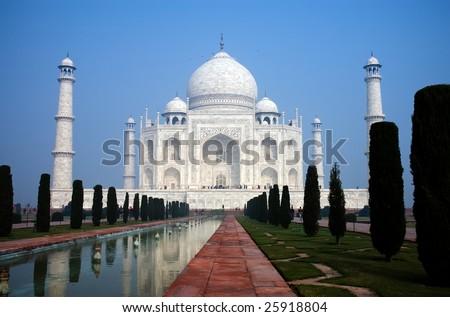Enchanting beauty of Taj Mahal, wonder of the world in India, Agra, Uttar Pradesh - stock photo