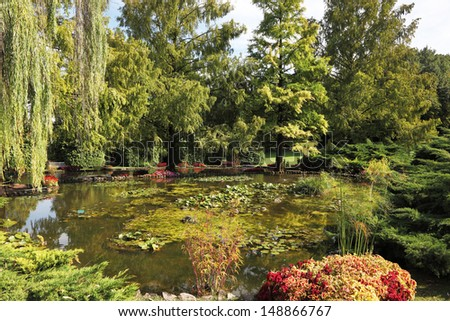 Enchantingly beautiful park-garden Sigurta. Shallow pond, weeping willow and a flowerbed of red flowers - stock photo
