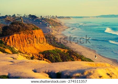 Encinitas Beach Ocean Shore in Southern California, United States. - stock photo