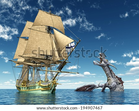 Encounter on the High Seas Computer generated 3D illustration - stock photo