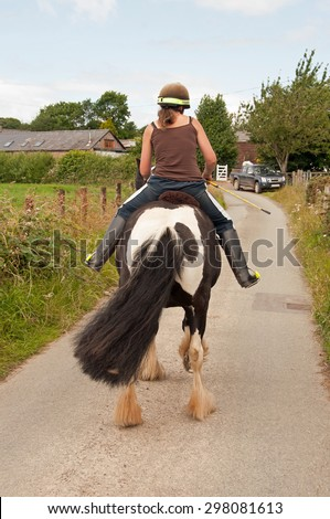 Encouraging a napping pony to go forward - stock photo