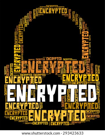 Encrypted Word Indicating Cipher Cryptography And Protected - stock photo