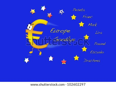 End of euro. - stock photo