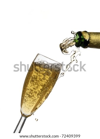 End of filling a champagne glass - stock photo