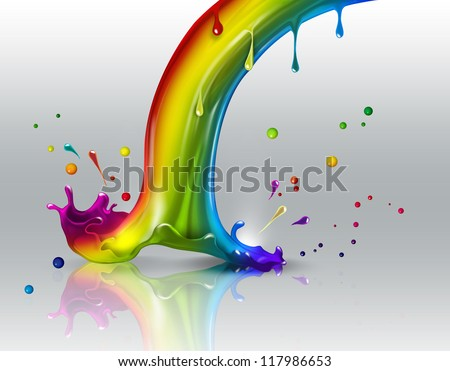 end of the rainbow splash on a light background - stock photo