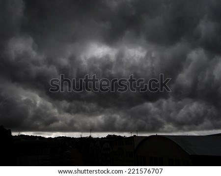 End of the world view of a scary gigantic storm.(Armageddon) - stock photo