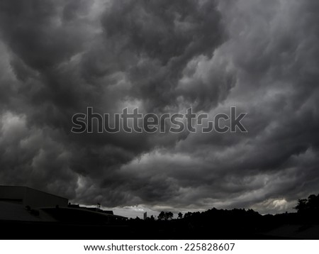 End of the world view of an apocalyptic gigantic storm.(Armageddon) - stock photo