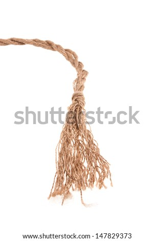 end of very old rope  isolated on white background - stock photo