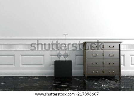 End Table and Chest of Drawers in White Hallway of Upscale Home - stock photo