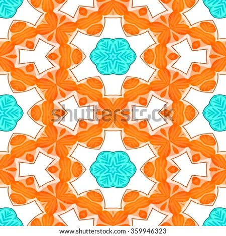 Endless blue orange white wallpaper with floral pattern - stock photo