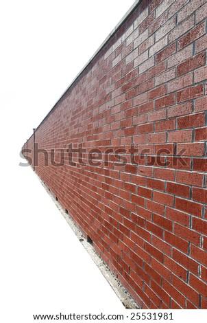 endless brick wall over white - stock photo