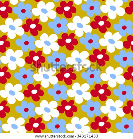 Endless fun floral pattern. Seamless texture - stock photo