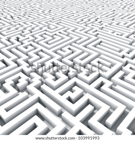 Endless large maze 3D render. - stock photo