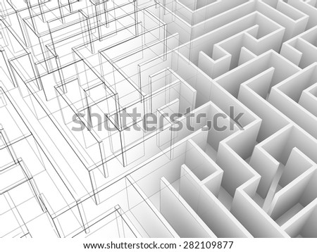 endless maze 3d illustration,wire frame  - stock photo