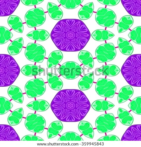 Endless purple green white wallpaper with floral pattern - stock photo