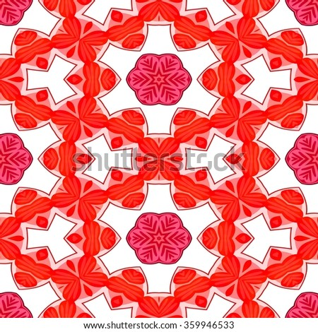 Endless red pink white wallpaper with floral pattern - stock photo