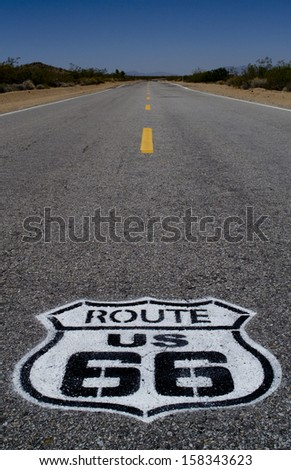 Endless roads of Route 66 in Arizona desert, USA - stock photo