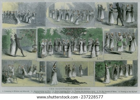 Endowment ceremonies were influenced by Masonic rituals to which Mormon prophet Joseph Smith was exposed in 1842, 1876 book illustration with modern watercolor. - stock photo