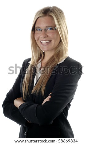 Energetic and young business woman smiles, isolated over white background. - stock photo