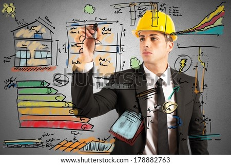 Energetic project draft of a construction engineer - stock photo