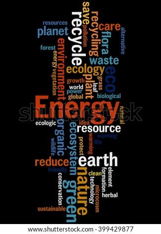 Energy alternative, word cloud concept on black background.  - stock photo