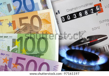 energy and gas cost money - stock photo