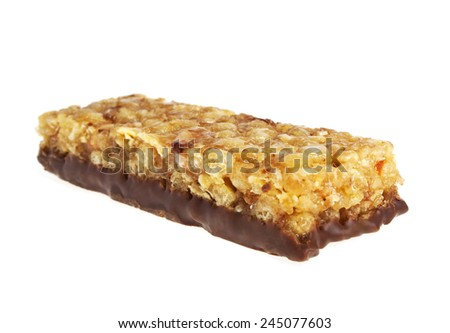 Energy bar isolated on white background - stock photo