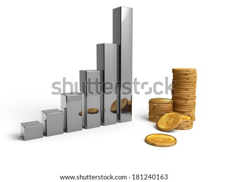 Energy bar with a pile of coins,  white background - stock photo