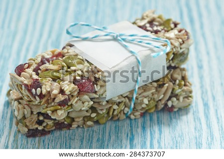 Energy bars - snack for healthy still life - stock photo