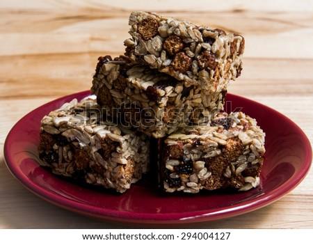 Energy bars - snack for healthy still life - stock photo