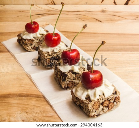 Energy Bars with cherries - for a healthy snack still life - stock photo