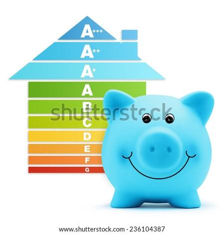 energy class scale savings efficiency  piggy bank home - stock photo
