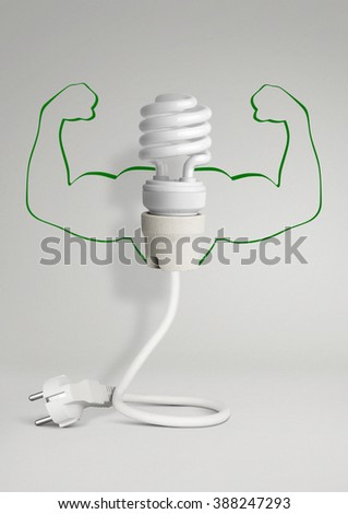 Energy concept, eco lamp with wiring and hands on grey background - stock photo