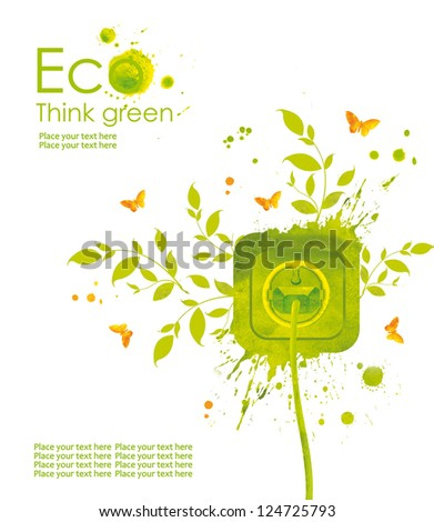 Energy concept.Illustration environmentally friendly planet. Green socket, grass, butterfly and splash of paint,from watercolor stains,isolated on a white background. Think Green. Ecology Concept. - stock photo