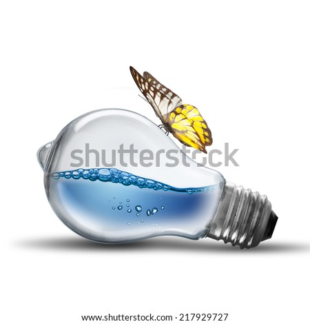Energy concept. Light bulb with water splash inside and butterfly - stock photo