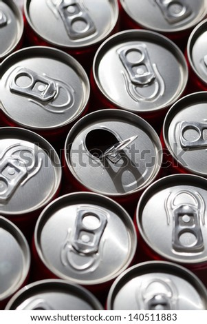 Energy drink cans top view - stock photo