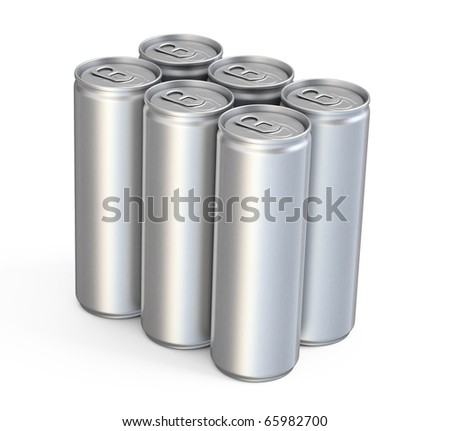 Energy Drinks Cans (isolated on white and clipping path) - stock photo