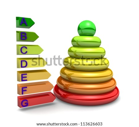 Energy efficiency concept. 3d illustrations isolated on white background - stock photo