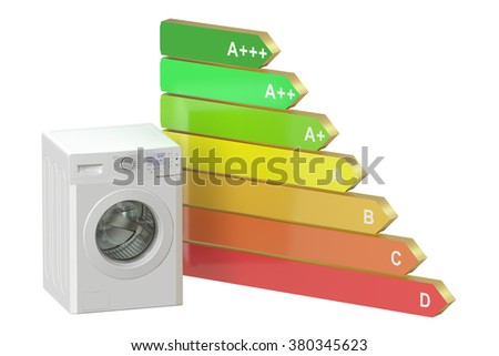 Energy efficiency concept with washing machine - stock photo
