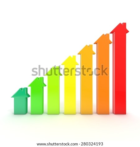 Energy efficiency graph bars represented as houses. 3D render illustration isolated on white background - stock photo