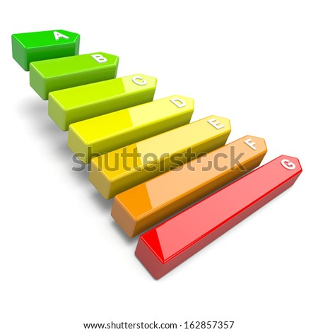 Energy Efficiency Levels Chart Classification Environment Concept 3D Illustration - stock photo