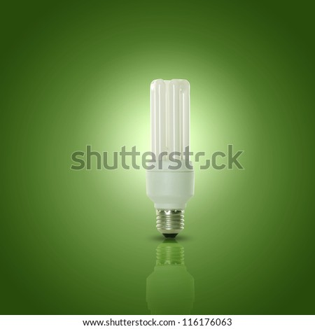 Energy efficient CFL compact fluorescent light bulb lamp - stock photo