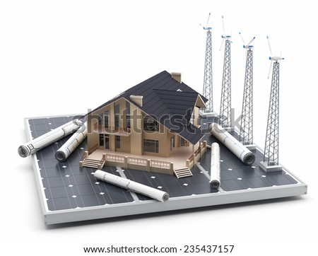 Energy efficient construction - Windmills, wind energy and solar panels - 3D Render - stock photo