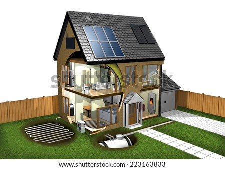 Energy Efficient House and Garden left - stock photo
